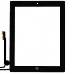 Touch screen + tasto interno Nero (A+) compreso biadesivo iPad 4 Retina